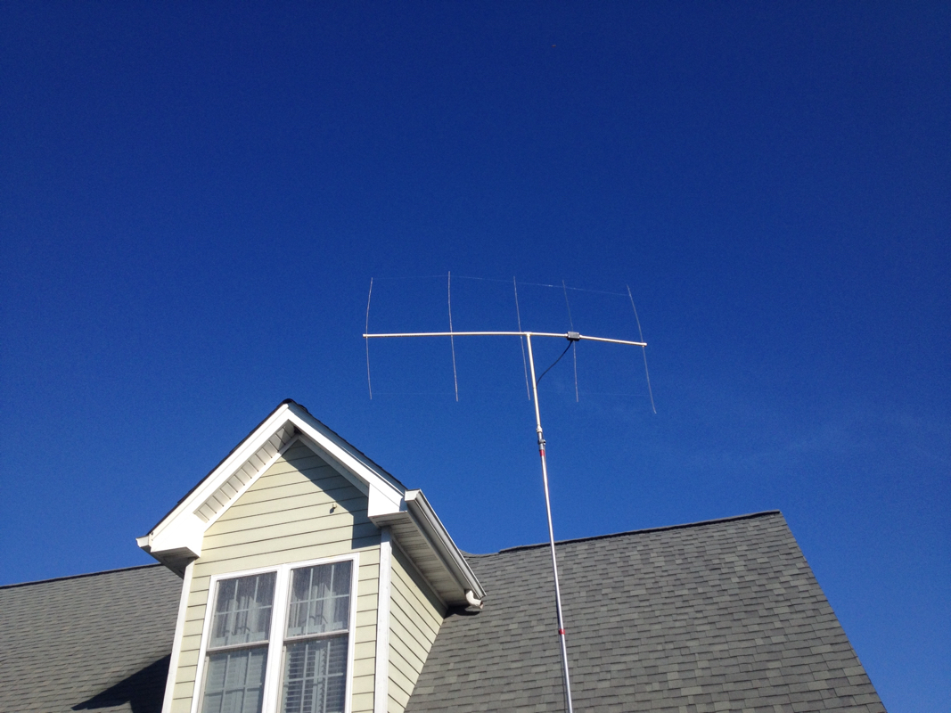 2m Clothes Hanger Yagi Antenna Jonathan Weaver Mounted Around 17 Feet In The Air On End Of A Painters Pole I Was Hitting Repeater At Ga Tech And Bank America Building 50 Miles Away With
